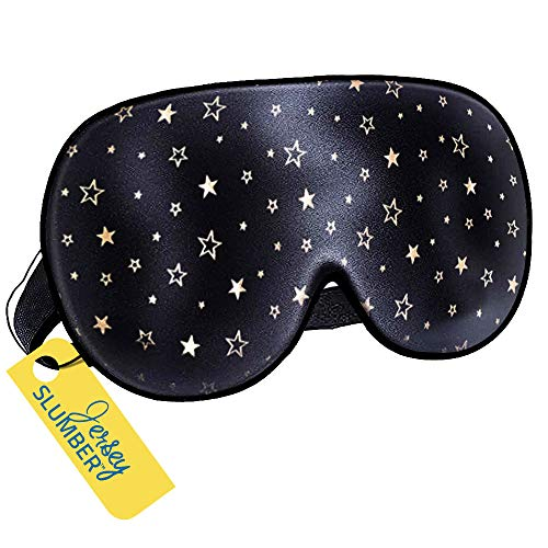 Jersey Slumber 100% Silk Sleep Mask For A Full Night's Sleep | Comfortable & Super Soft Eye Mask With Adjustable Strap | Works With Every Nap Position | Ultimate Sleeping Aid/Blindfold, Blocks Light
