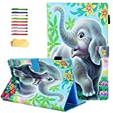 UUcovers Case for Amazon Kindle Fire HD 10 9th/7th/5th Generation 10.1' Tablet Case 2019 2017 2015, Smart Folio Stand PU Leather Cover with Pencil Holder [Auto Sleep/Wake] Card Slots, Elephant Flower