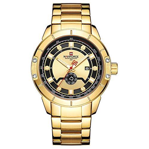Marca Hombres Correa de Acero Reloj Dorado Reloj de Cuarzo para Hombre Fecha Deporte Relojes de Pulsera Impermeables Relogio Masculino