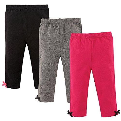 Hudson Baby Baby Girls' Cotton Leggings, 3 Pack, Pink/Gray, 3-6 Months (6M)