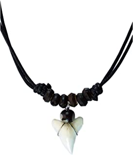 exoticdream Real Shark Tooth Necklace Rasta Jamaican Surfer Hawaiian Beach Boys Girls - Small Beads