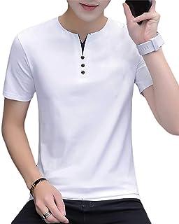 [meryueru(メリュエル)] フェイクボタン ヘンリーネック tシャツ カジュアル サマー トップス 半袖 シャツ メンズ