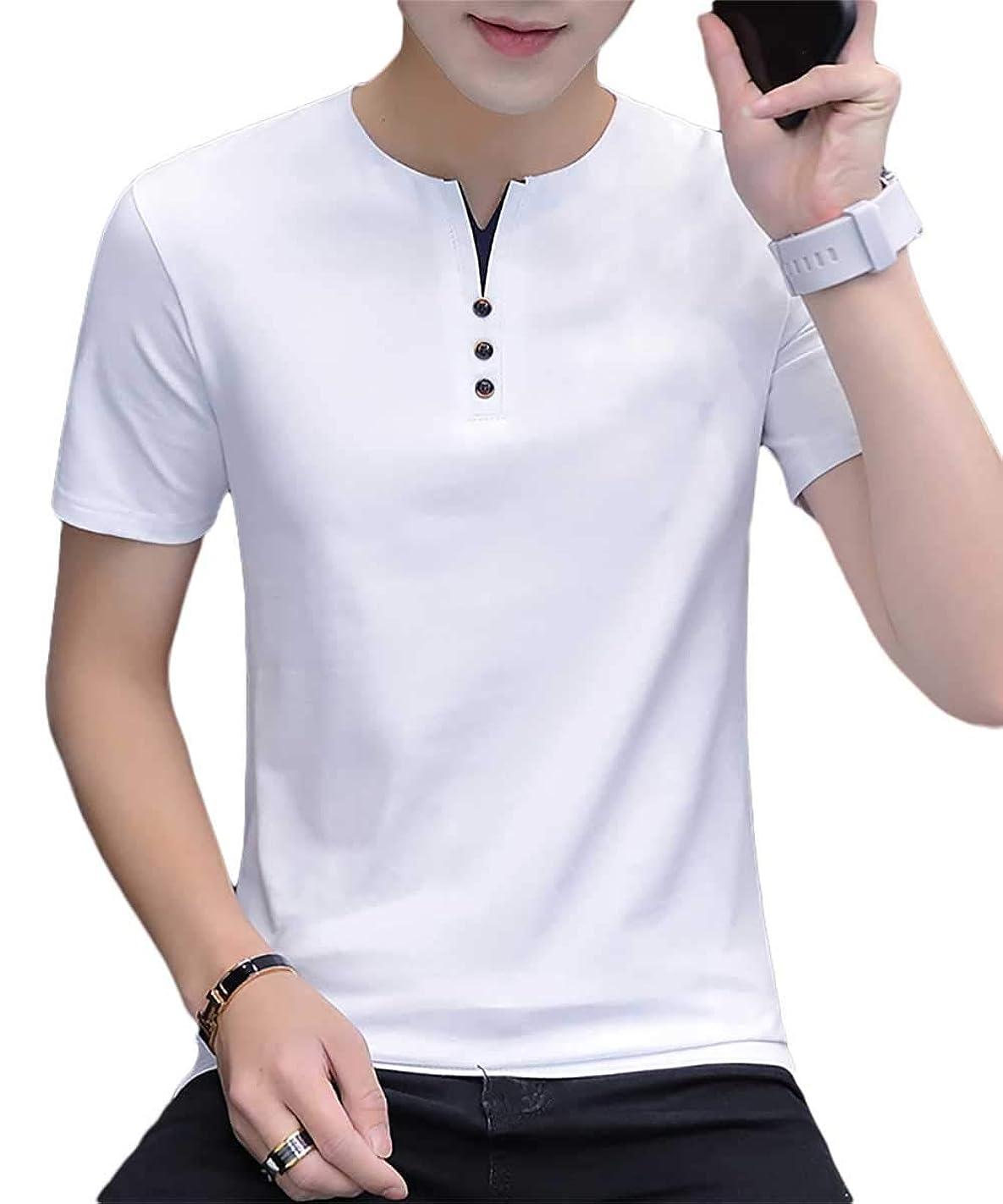 挑む戦い呪われた[meryueru(メリュエル)] フェイクボタン ヘンリーネック tシャツ カジュアル サマー トップス 半袖 シャツ メンズ