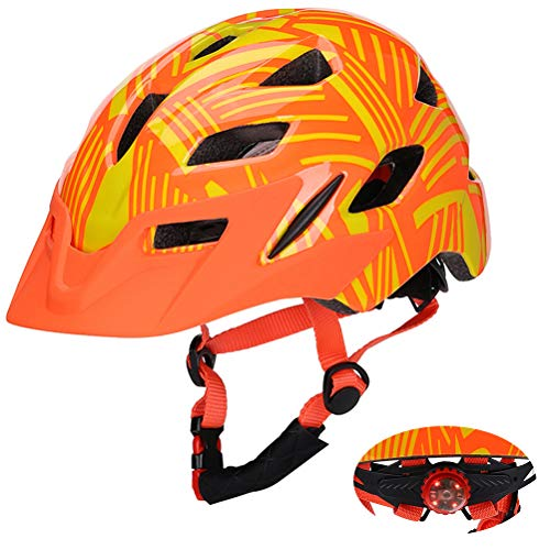 Desire Sky Caschi da bici per bambini Casco multisport regolabile per adolescenti con fanale posteriore di avvertimento visiera staccabile