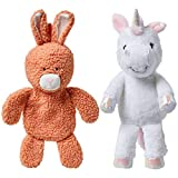Blueberry Pet 2021 New Pack of 2 Squeaky Plush Toys for Puppies & Dogs, 12' Stuffless Rabbit and 12' Stuffed Unicorn Toy with Squeaker for Puppies & Small Dogs