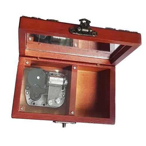 FnLy Caja Musical de Madera, 18 Notas, diseño Antiguo de Encaje, Caja de música de tamaño pequeño, Caja de música con Tema de la Bella y la Bestia