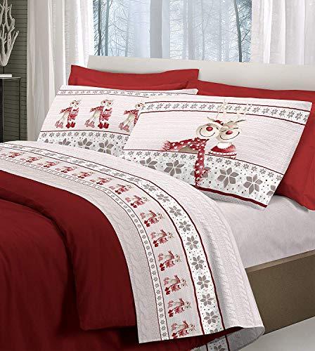 Pellecchia Colori Set Completo Lenzuola in Flanella Pensieri Delicati Fantasia Renna Rosso Matrimoniale Rosso