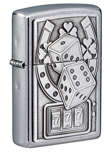 Zippo Lucky 7 Emblem Street Chrome Pocket Lighter Silver One Size