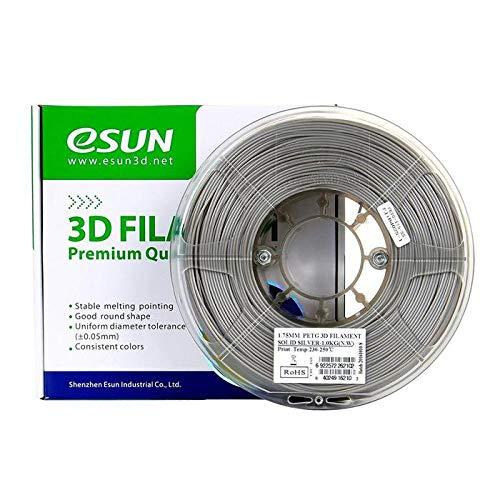 eSun Filamento PETG para impresora 3D, 1,75 mm, 1 kg, color plateado
