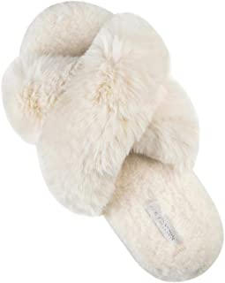 Women's Cross Band Soft Plush Fleece House Indoor or Outdoor Slippers