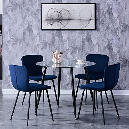 GOLDFAN Glass Dining Table and 4 Chairs Modern Round Kitchen Table and Velvet Chairs Dining Table Set,90cm/Blue