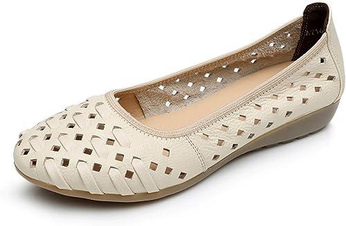 LXJL Les Les dames en Cuir Plates Occasionnels Les Les dames Fond Mou Sandales à Trou Creux antidérapantes Chaussures compensées Chaussures de Travail,c,37