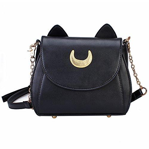 Bonamana Cosplay Sailor Moon 20. Tsukino Usagi PU-lederne Frauen Handtasche Schultertasche (Black)