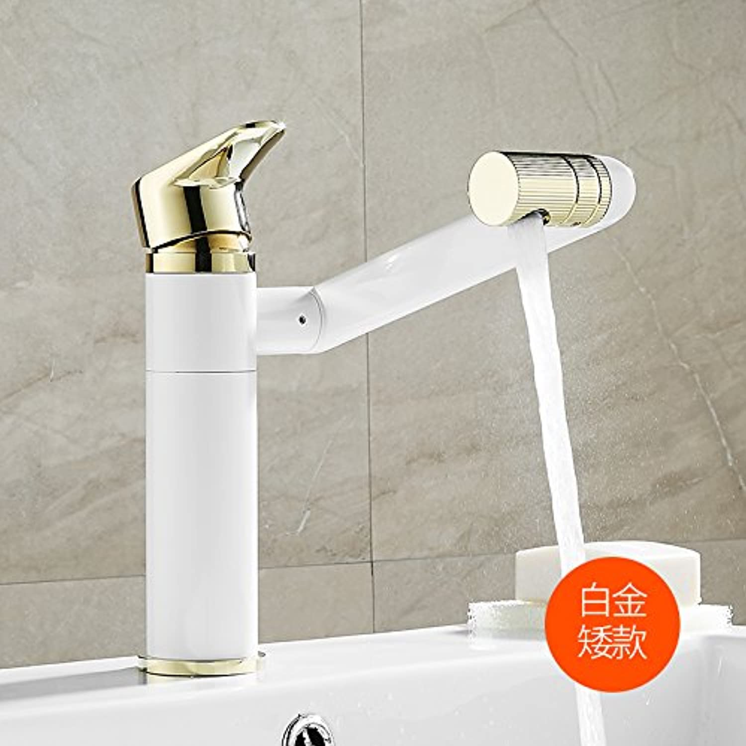 JWLT All copper body pull faucet basin, water faucet, hot and cold basin, wash basin, hand basin, lifting and washing,Fortune Cat basin faucet standard white -4 days shipped