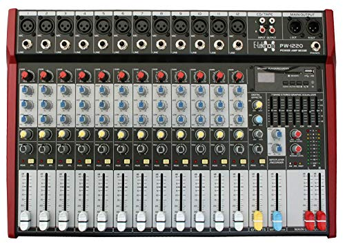 E-Lektron PW-1220 Live Power-Mixer 12-Kanal + stereo MP3-Kanal Mischpult inkl. 2x 400W Endstufe