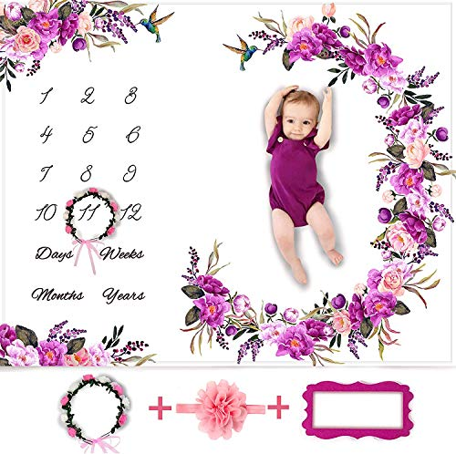 Baby Monthly Milestone Blanket Girl - Floral Large Plush Fleece Growth Chart Blanket Memory Photography Backdrop for Newborns - New Moms Set - No Wrinkle - Floral Wreath + Headband