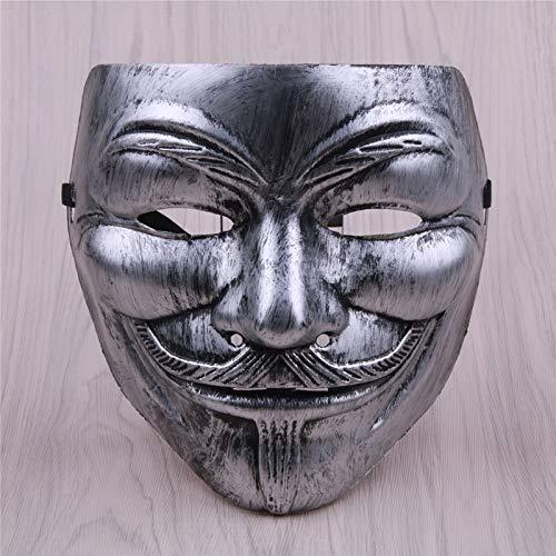 XKMY Máscara de Halloween 1 pieza V para máscara Vendetta Halloween Masquerade suministros de fiesta de miedo Cosplay accesorio accesorios película anónima (color : D)