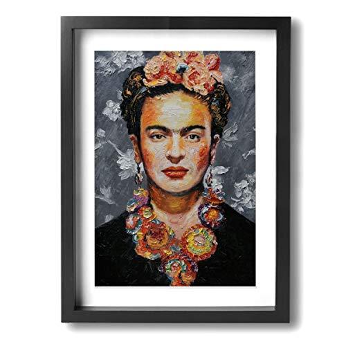 Pintura C Frida Kahlo Mexicano Folk Wall Art Decor Poster Obras de Arte Pinturas Impresiones Sobre Lienzo Enmarcado Listo para colgar para Decoraciones del Hogar Decoración de Pared 30 x 40 cm