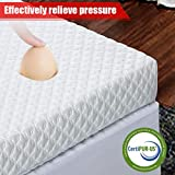 INGALIK 2-Inch Memory Foam Mattress Topper Queen Size Bed Topper (with Bamboo Fiber Mattress Cover, Zipper Closure, Removable and Washable