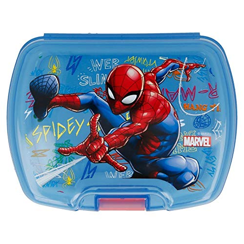 ALMACENESADAN 2005, Sandwichera Premium Rectangular Multicolor Spiderman Graffiti; Producto de plástico; Libre BPA; Dimensiones 18x14x7 cm
