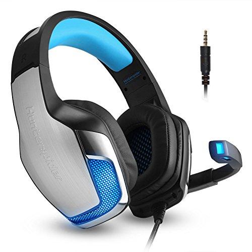 Micolindun Headset Gaming Mikrofon Kopfhörer Gamer Leicht Basse Stereo Rauschen Isolating für Ps4, Xbox One, Pc, Laptop, Tablet, Telefon (inkl. Adapter)