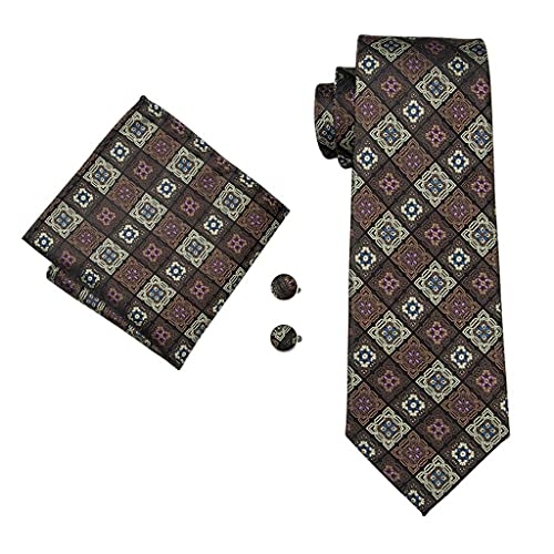 ZAIZAI Juego de corbatas para hombre, color marrón, seda, para hombre, boda, negocios (color: A, tamaño: talla única)