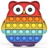 Bdwing Silikon Push Bubble Sensory pop it Fidget Toy, Regenbogen Farbe Baby Spielzeug, Angst Relief Finger Spielzeug, Ablenkung bei Stress Nervosität für Kinder und Erwachsene Fidget(Eule)