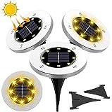 StillCool Luz de Suelo Solar, 4 PZS Luces Solar de Tierra Impermeable IP68 Auto-sueño y Auto-estela con 8LED para Jardín Escalones Césped Terraza