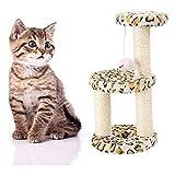 JY Cabello Corto Alfombras Rascadoras Sisal Columpio Gato Gatos Árbol Mascotas Juguetes en Pequeña Escala Tres Rascadores Rascador para Gatos/Leopardo