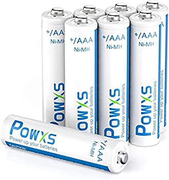 8-Pack Powxs AAA Rechargeable 800mAh Batteries with Cases