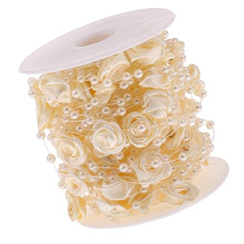 Satin Rose Blume Kunstperle Perlengirlande Perlenband Perlenkette deko Perlen Girlande Tischdeko für Hochzeit Taufe Weihnachten DIY Handwerk Braut Haarschmuck Brautstrauß - Champagner, 10m
