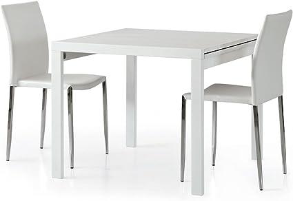 Spazio Casa Tavolo Quadrato Bianco Frassinato Allungabile 90 X 90 Bianco Amazon It Casa E Cucina