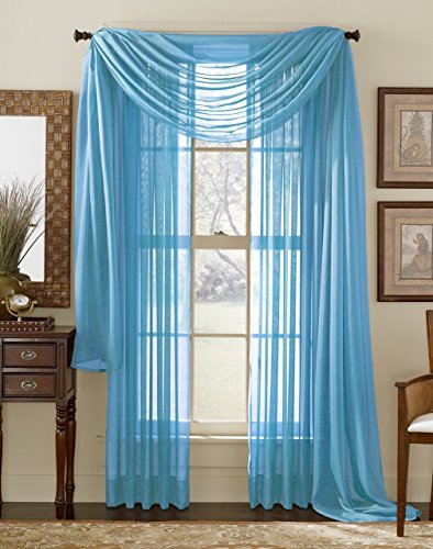 """Comfy Deal 3 Piece Sheer Panel (2 Pieces 58"""" x 84"""") and Scarf Window (1 Pieces 37"""" x 216"""") Curtain Combo Set (Turquoise)"""