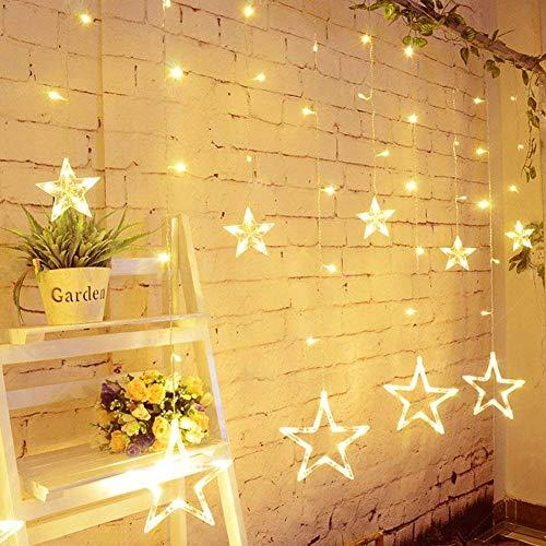 Led-lichtsnoer met ledbol, 12 sterren, 138 lichtsnoer met 8 modi, voor binnen en buiten, waterdicht, decoratie voor Kerstmis, decoratie, festivals, kamers, ramen, warmwit