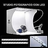 STUDIO SET FOTOGRAFICO PORTATILE LIGHT BOX CON ILLUMIN. LED 6...