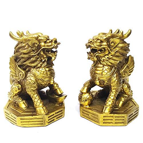 AMTOOCH Feng Shui Kylin Statue Brass Home Decor Set of...