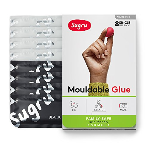 Sugru Moldable Glue - Family-Safe - All-Purpose Adhesive, Suitable for Children - Holds up to 4.4 lb - Black & White 8-Pack