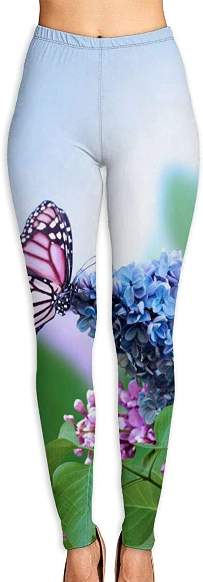 Courier shipping free shipping Lilac Flowers and Butterflies Gym Pants Yoga mart Leggings Sweatpants