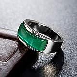 Anillo de acero de titanio, diseño de ojo de gato, color verde esmeralda, para hombres y mujeres, para parejas, boda, compromiso, recuerdo, 123, aceropiedra verde, 40