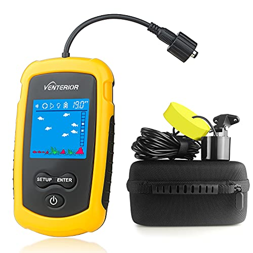 Venterior Portable Fish Finder Handheld Fishfinder Fishing Gear with Sonar Transducer, LCD Display, Water Resistant Bag and Hard Travel Case (Yellow)