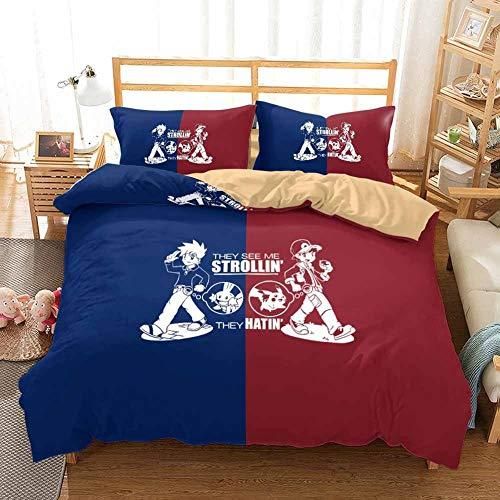 GD-SJK - Juego de ropa de cama para niños, pikachu, Pokémon, Niños, Niñas, funda de cama, funda de almohada, juego de 3, ropa de cama, juego de microfibra con cremallera, 16, 200 x 200 cm