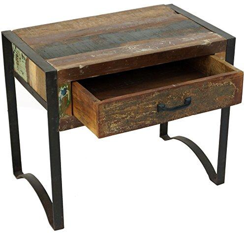 Guru-Shop Vintage Bijzettafel, Nachtkastje in Metaal en Gerecycleerd Hout - Model 2, Bruin, 50x60x38 cm, Salontafels Vloertafels