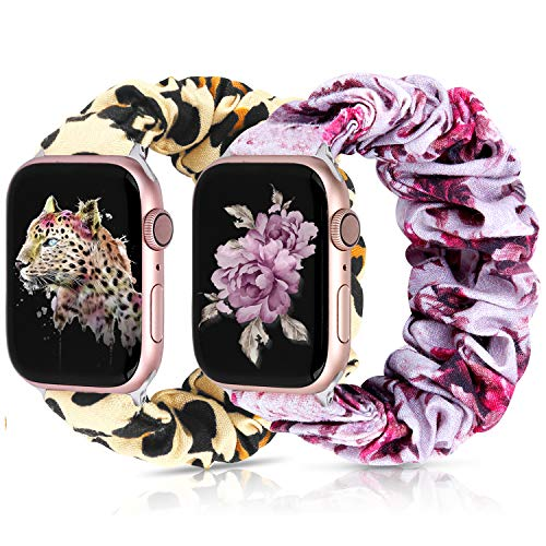 Moretek Scrunchie Bands Compatible with Apple Watch Band 38mm 40mm 42mm,Soft Pattern Printed Fabric Sport Replacement Wristbands for Women with iWatch Series 5 4 3 2 1 (Z-Pack 2, 38/40mm)