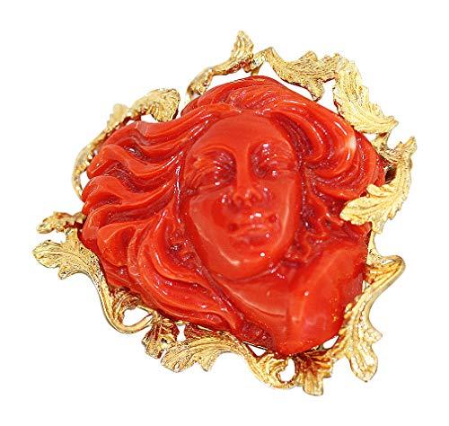 Hobra-Gold Korallenbrosche Damenantlitz Koralle Brosche Gold 750 Goldbrosche 18 Karat
