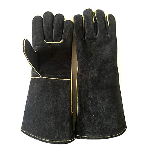 Gants en cuir résistant à la chaleur et au feu extrêmes, parfaits pour les cheminées, poêles, gants de cuisine, fentes pour grillades, soudures, fours, BBQ, Mig, Maniques, noirs, 16 pouces Gant de pro