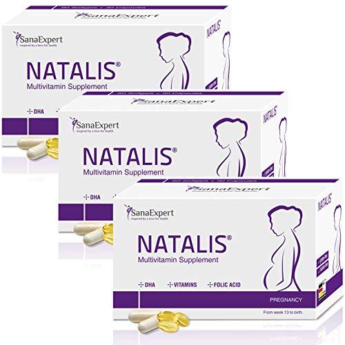 SanaExpert Natalis pack X3| SUPLEMENTO PARA EL EMBARAZO | con ácido fólico, hierro, DHA, vitaminas y nutrientes esenciales (3).