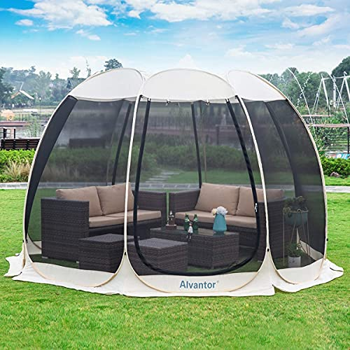 Alvantor Pawilon Pop Up domek z parawanem, 4-6 osób, natychmiastowa moskitiera kempingowa kopuła namiot schroniskowy odporny na promieniowanie UV zadaszenie namiot imprezowy na imprezę, do ogrodu, na patio, podwórko (25 x 25 cm, beżowy)
