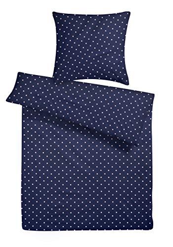 Mako-Perkal Bettwäsche Set 135 x 200 cm Blau gepunktet - Kühler Bettbezug aus 100 % Baumwolle - Schöne & Moderne Bettwaren-Garnitur - Rosa Punkte Muster Bettbezüge 200x135 mit Reißverschluss