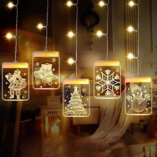 Zwini Cadena Cortina de Luces LED 3D Decoraciones navideñas Luces para cuentos de hadas alimentados por USB 1.5x0.7M Luces decorativas 3D LED 5V para Navidad