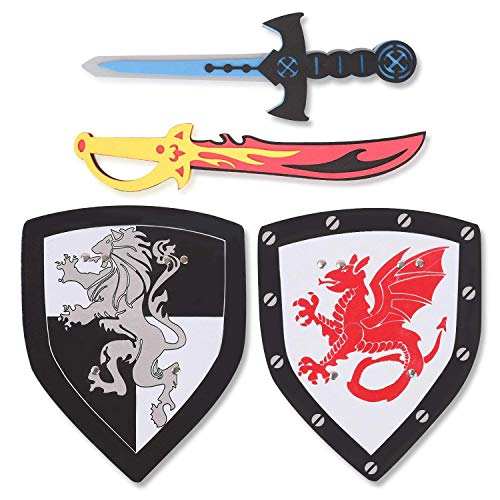 Liberty Imports Dual Foam Sword and Shield Playset - 2 Pack Medieval Combat Ninja Warrior Weapons Costume Role Play Accessories for Kids